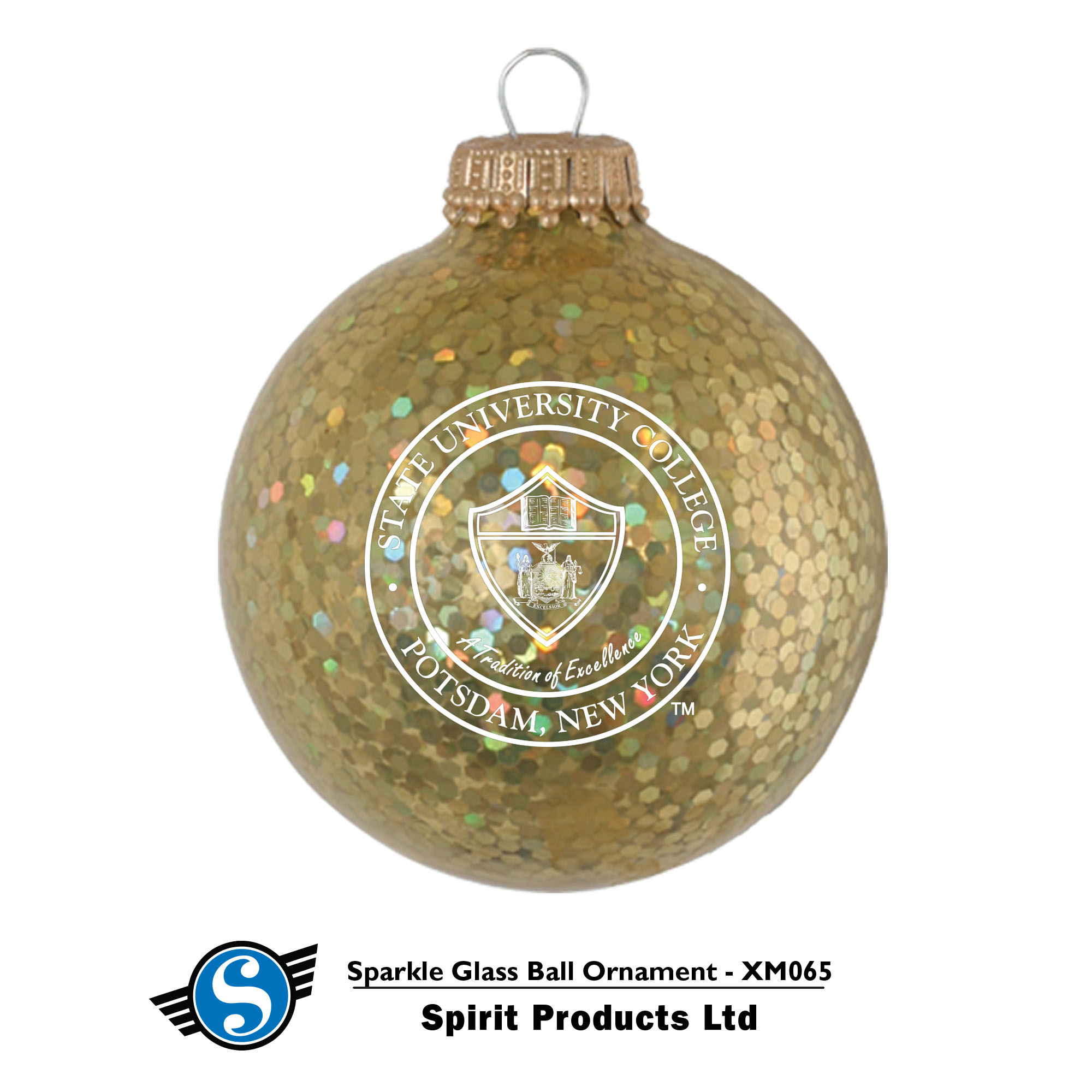 GLASS BALL SPARKLE ORNAMENT WITH SEAL