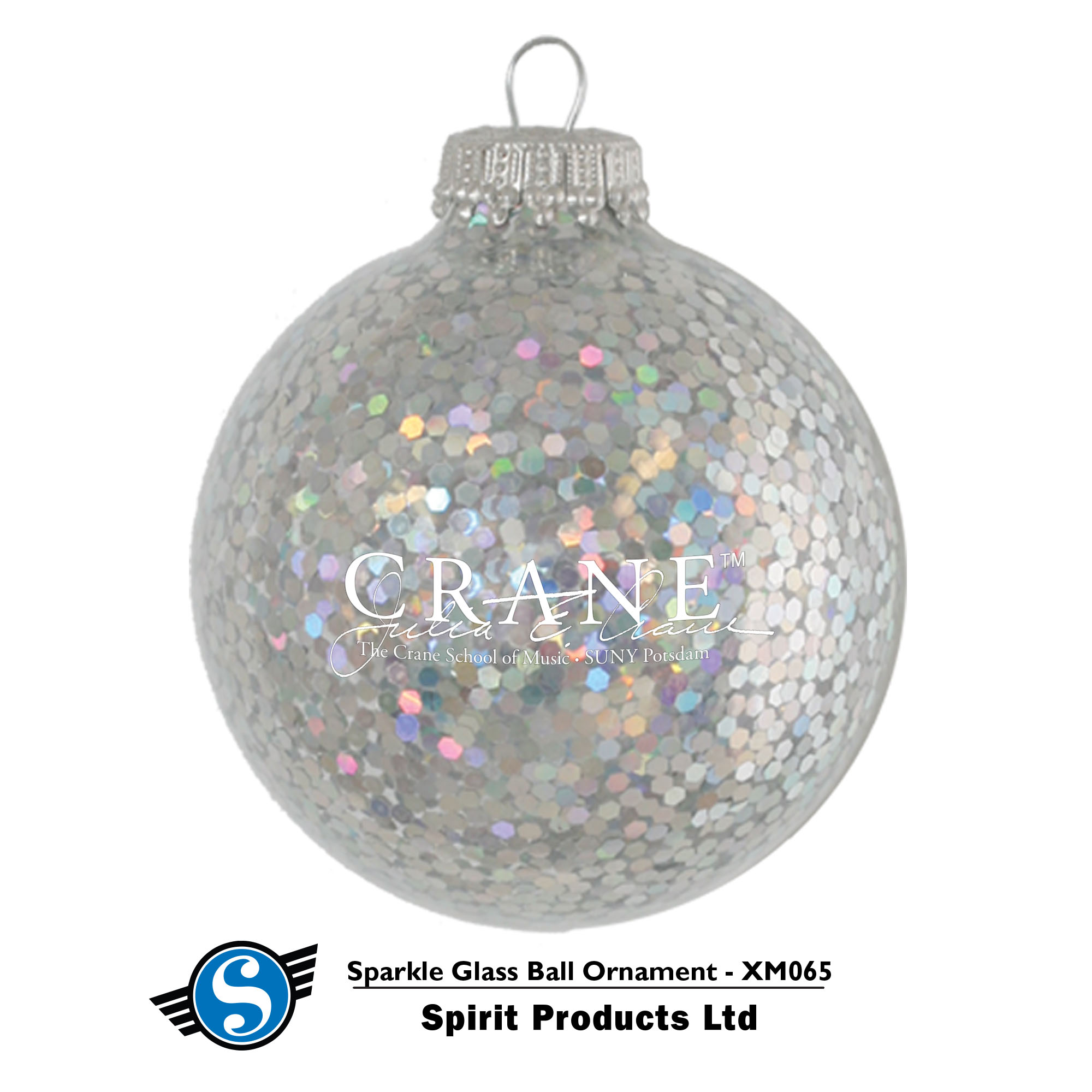 Image For GLASS BALL SPARKLE CRANE ORNAMENT